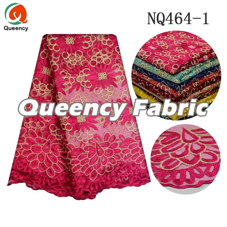 Fushia Embroidery Netting Lace