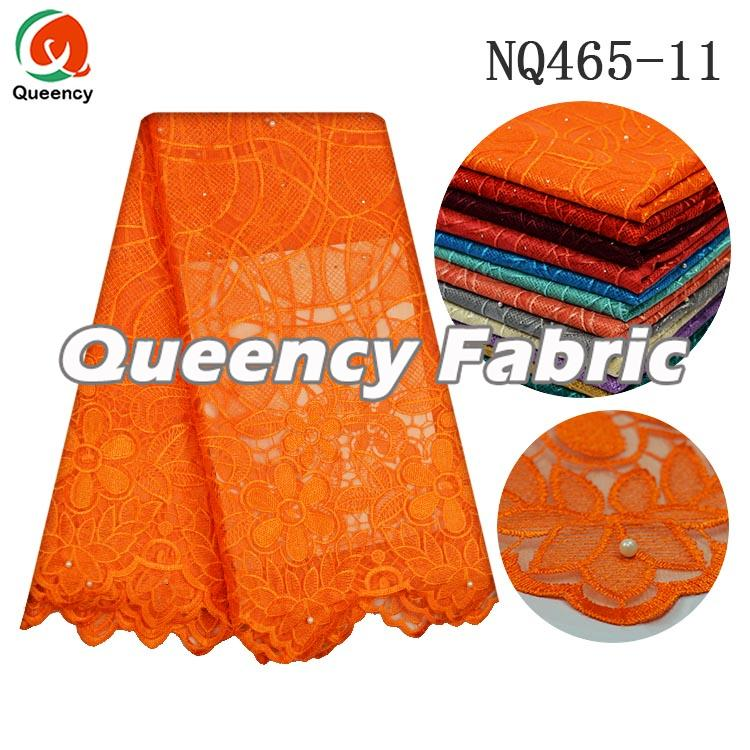 Orange Tulle Lace Material