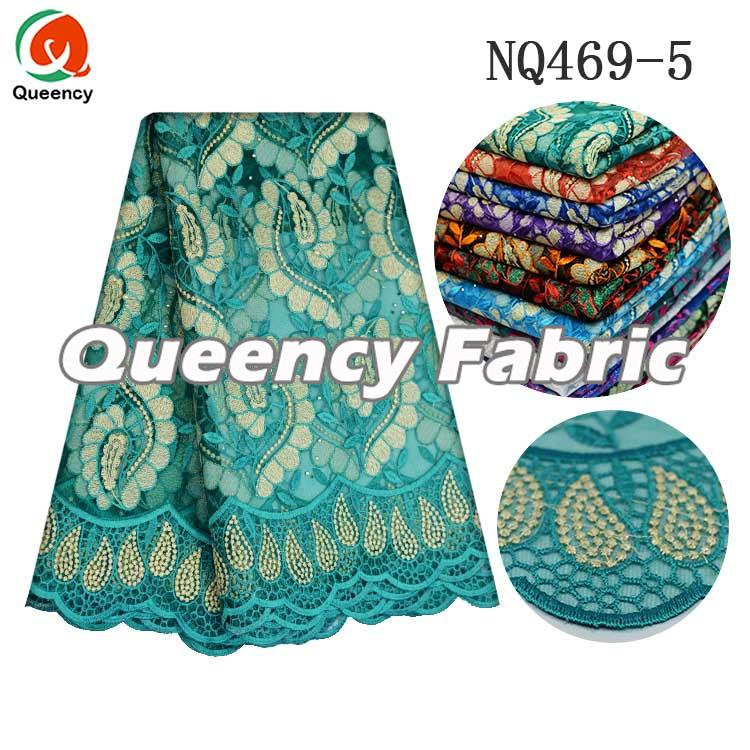 African Beaded Lace Netting In Aqua