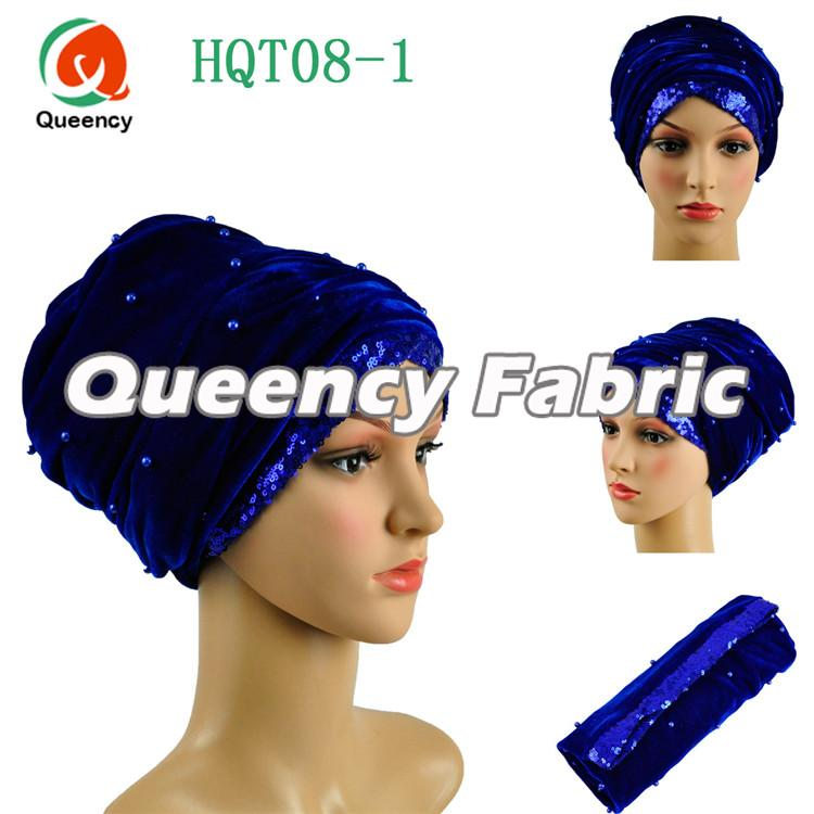 Royal Blue Beaded Turban Sequins Fabric