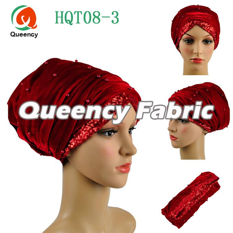 Red Head Scarf Sequins Turban