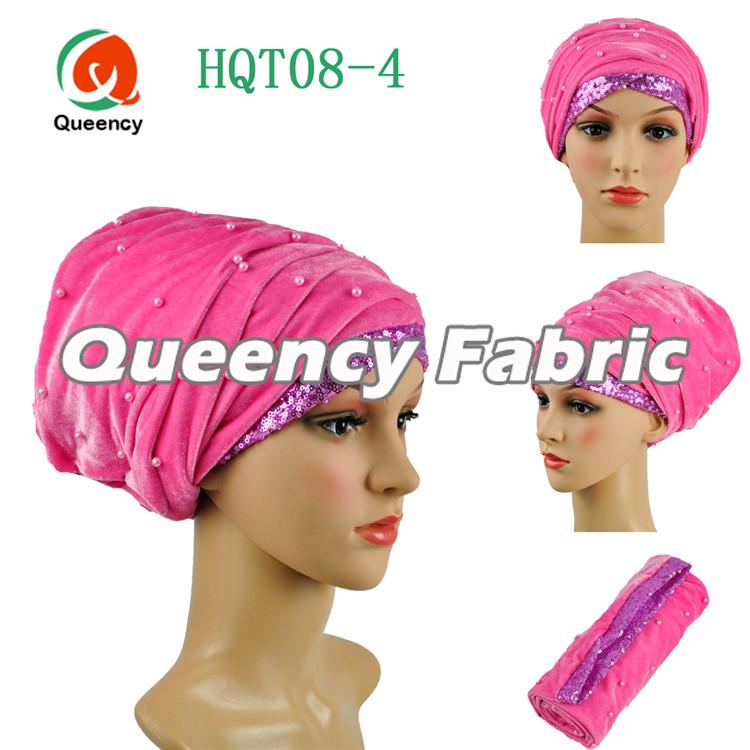 Beaded Headtie Sequins Pink Turbans