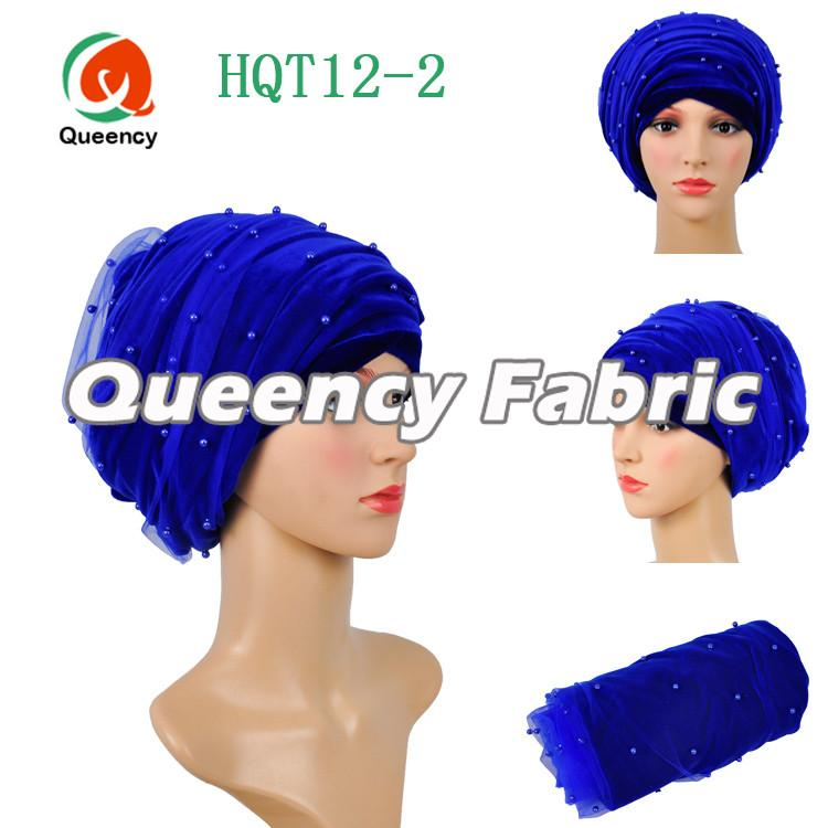 Royal Blue Beaded Net Turbans