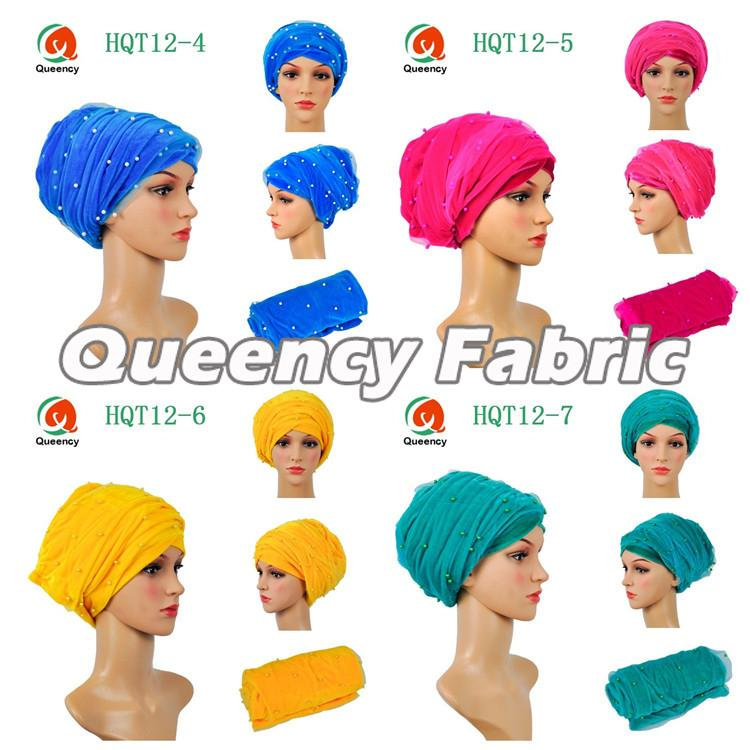 Muslim Net Turbans Beaded Fabric