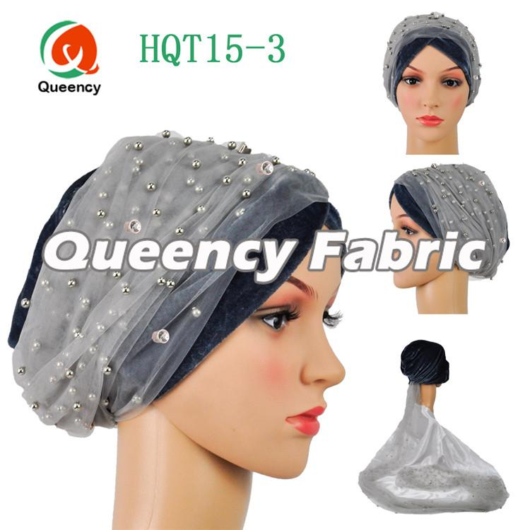 Muslim Turban Beaded Net In Grey