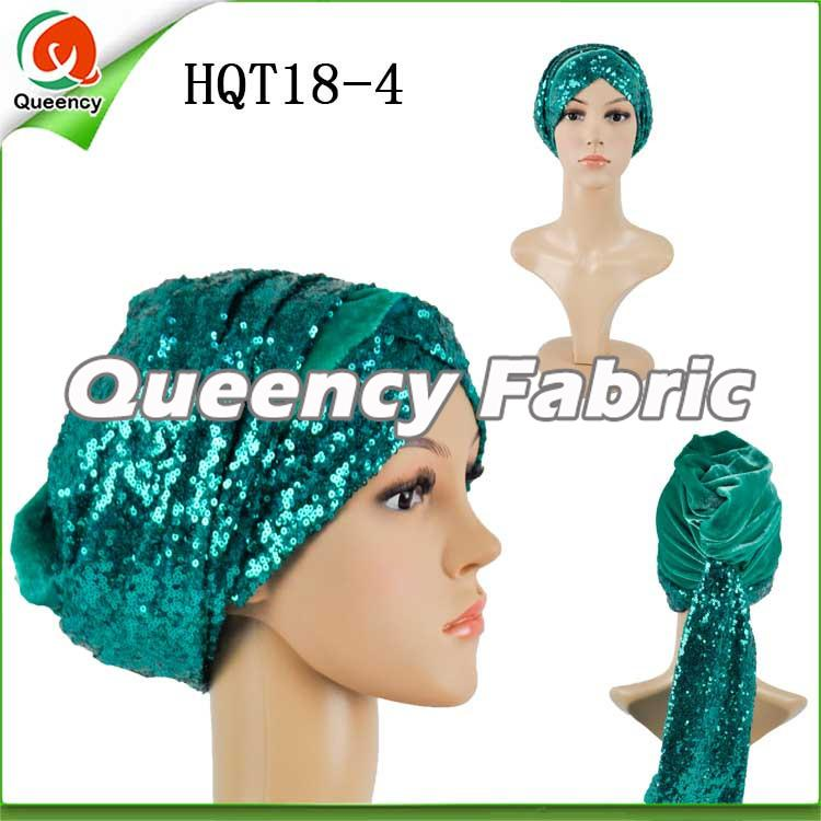 Teal Headtie Turbans Sequins