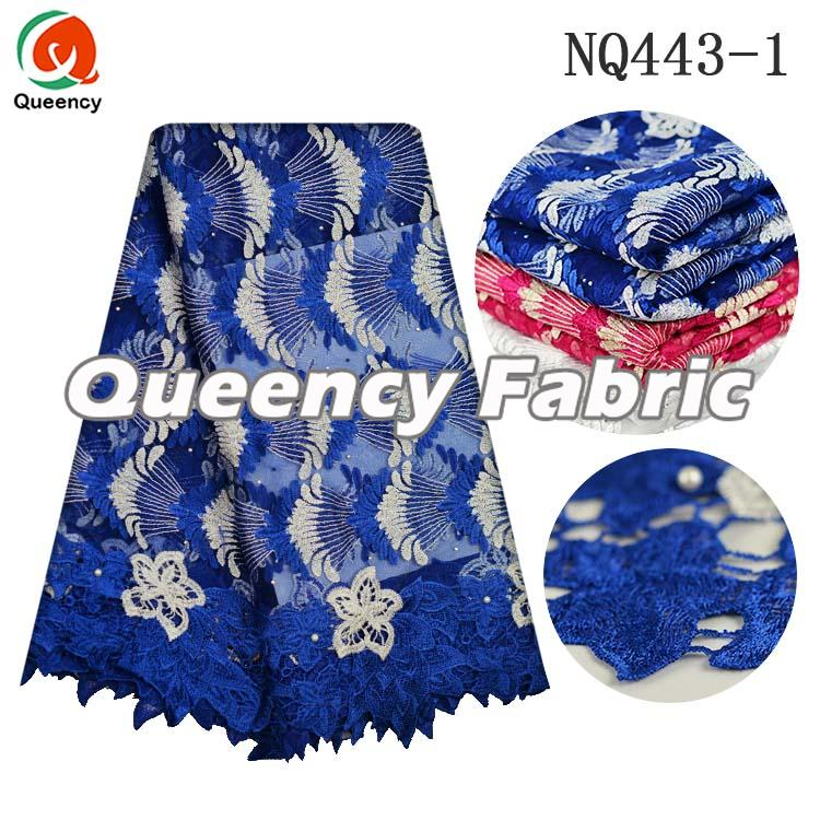 Royal Blue Beaded French Lace