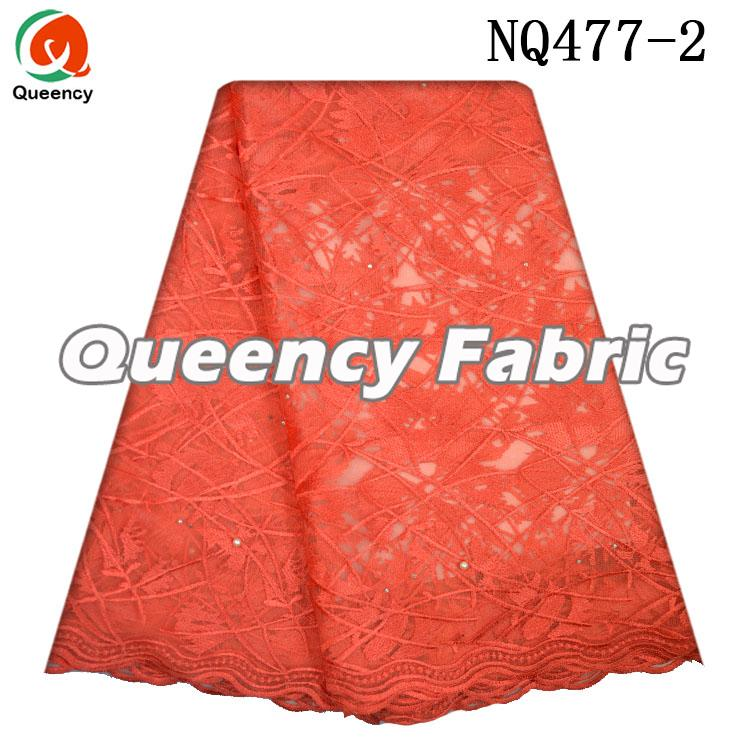 Coral Lace Floral Netting Embroidery