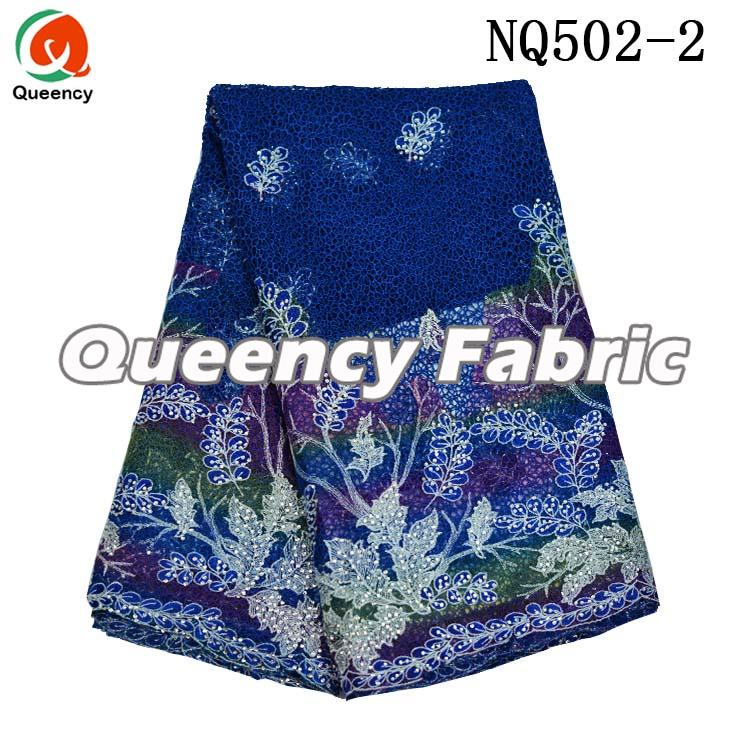 Royal Blue Lace Fabric Embroidered Dresses