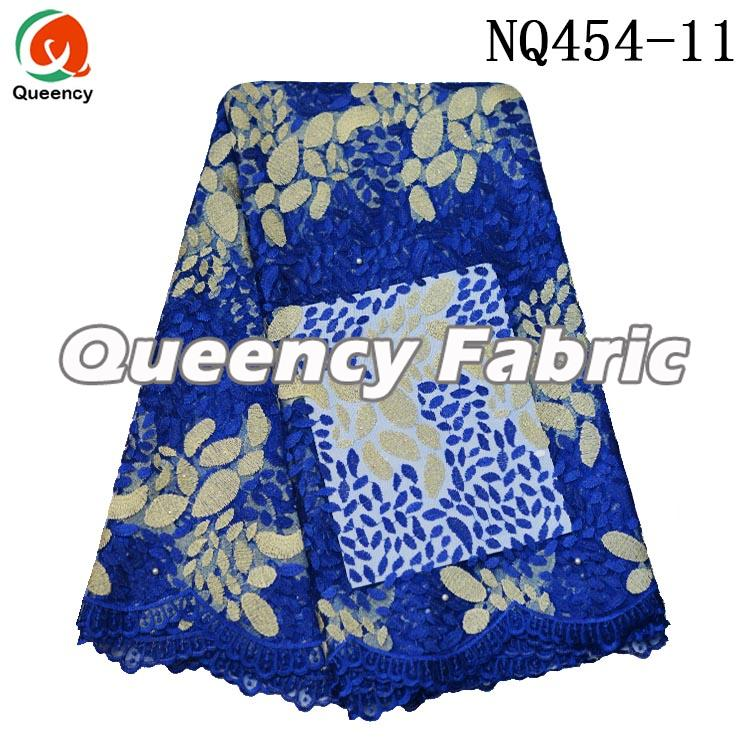 Royal Blue French Beaded Lace Cotton