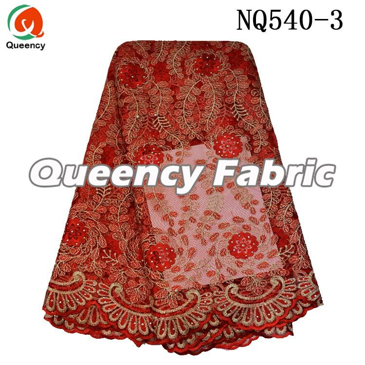 Red French Beaded Lace