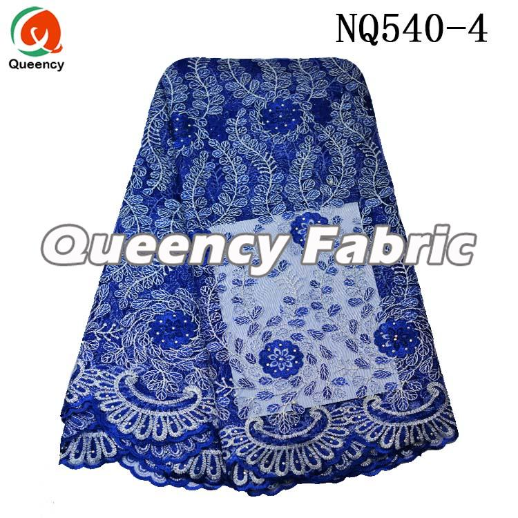 Royal Blue Beaded Lace Tulle Fabric
