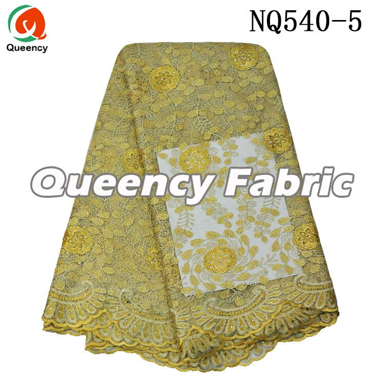 Gold Lace Tulle Embroidered Material