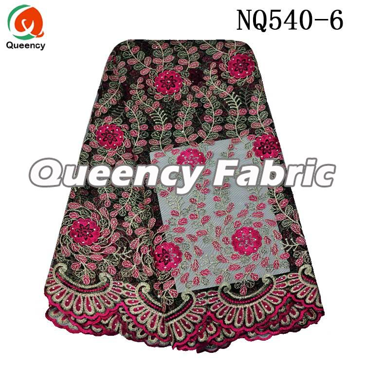 Fushia Cotton Lace Net Fabric
