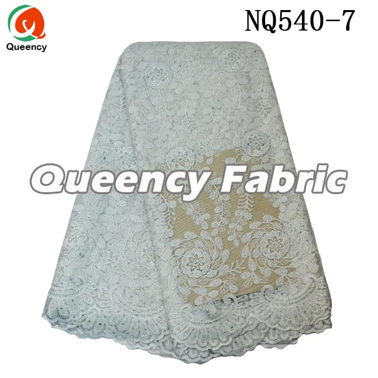 White Embroidered Cotton Lace Fabric