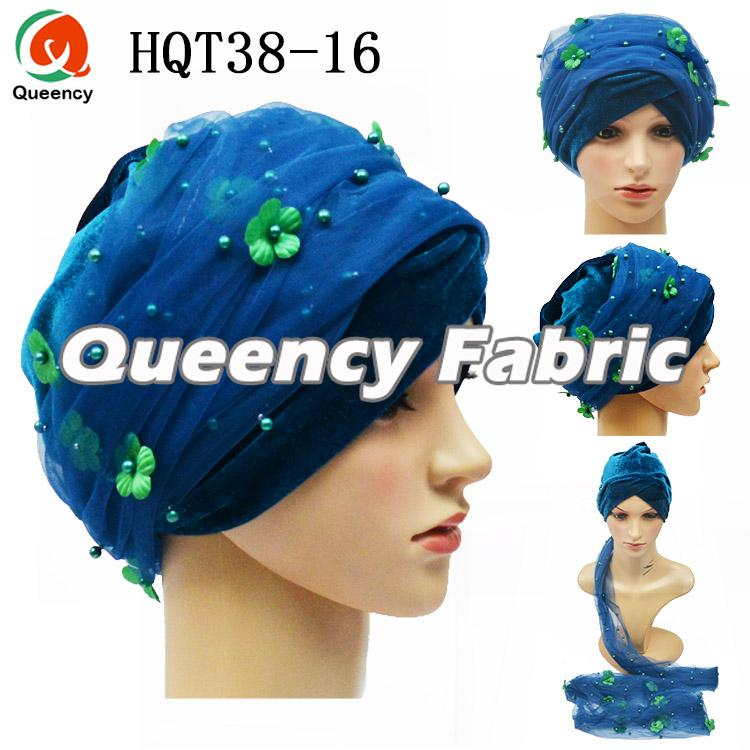 Teal Palin Arabic Turban Head Scarf
