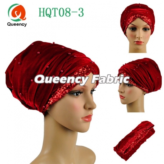 Custom Velvet Plain Sequins Turbans Beaded