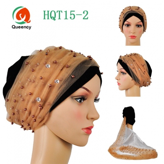 Beautiful Nigeria Beaded Net Turbans Velvet Material