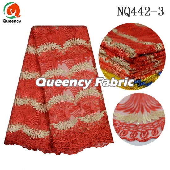 Nigeria French Chantilly​ Beaded Lace Embroidery