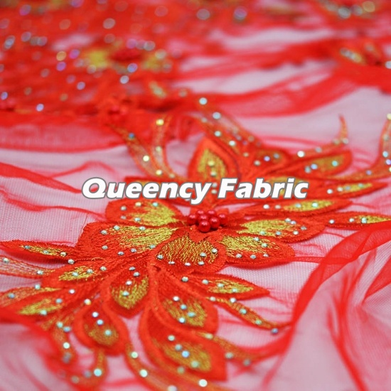 African Tulle Fabric Lace Beaded Embroidery