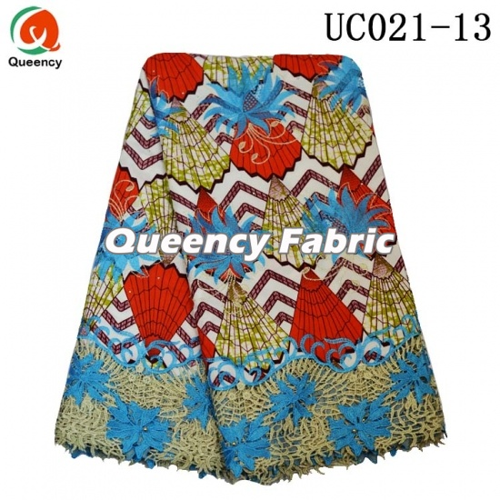 Latest Ankara Lace Beaded Embroidered Fabric