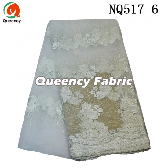 African Lace Tulle Embroidered Cotton Fabric