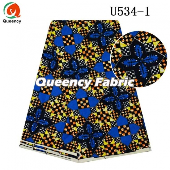 African Printing Wax Fabric With Stones