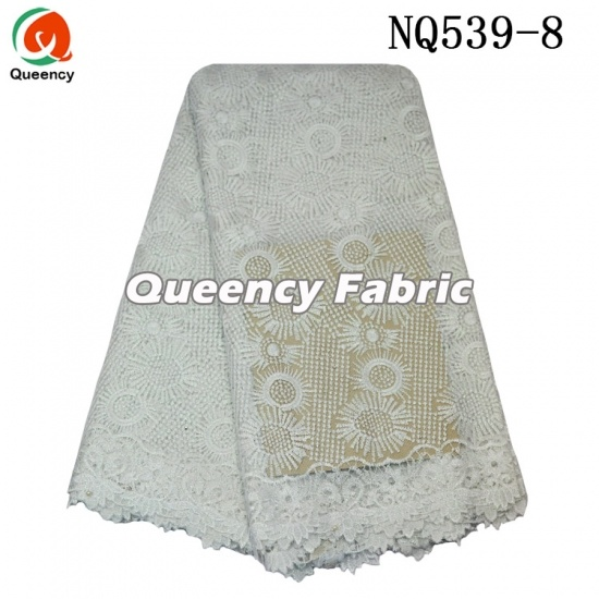 African Tulle Net Cotton Beaded Lace Embroidery
