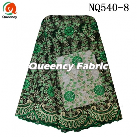 Wholesale African Cotton Tulle Beaded Lace Embroidery