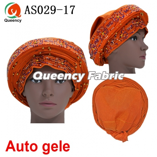 Aso Ebi African Ladies Auto Gele Already Beads Headtie